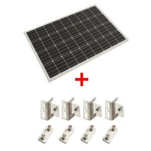 Adventure Kings 110w Fixed Solar Panel + Solar Panel Mounting Brackets to Suit Kings 110W Fixed Solar Panel