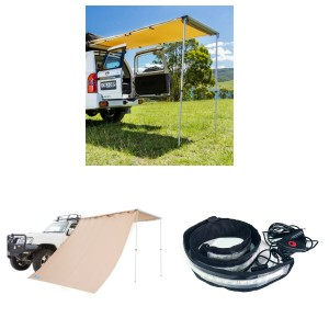 Adventure Kings Rear Awning 1.4 x 2m + Awning Side Wall + Illuminator MAX LED Strip Light