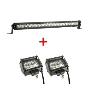"Kings 20"" Slim Line LED Light Bar + Adventure Kings 4"" LED Light Bar"