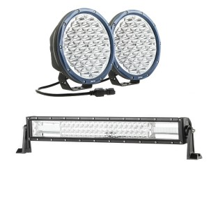 "Kings OSRAM Domin8r X 9"" LED Driving Lights (Pair) + Domin8r 22"" LED Light Bar"