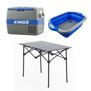 Adventure Kings 60L Camping Fridge + Aluminium Roll-Up Camping Table + Collapsible Sink