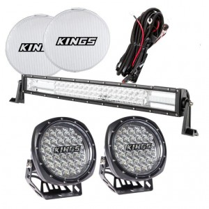 """Adventure Kings Complete 9"""" Driving Light & 22"""" Light Bar Set   Wiring Harnesses Included"""