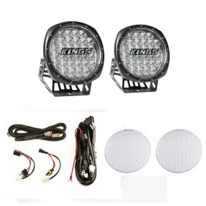 """Kings 7"""" Round LED Driving Lights (Pair)  + Plug N Play Smart Wiring Harness Kit + Driving Light Flood Covers (Pair)"""