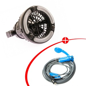 Adventure Kings Portable Shower Kit + 2in1 LED Light & Fan