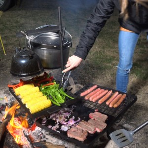 Kings Campfire Cooking BBQ | Swinging Hotplate and Grill Combo | Centre pole Design | Strong Steel