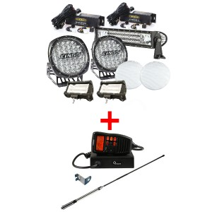 "Adventure Kings Ultimate 9"" Driving Light, 22"" & 2x 5"" Light Bar Set + Oricom UHF380PK In-Car 5W CB Radio"