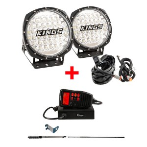 "Adventure Kings Domin8r 9"" Round LED Driving Lights & Plug and Play Smart Harness + Oricom UHF380PK In-Car 5W CB Radio"