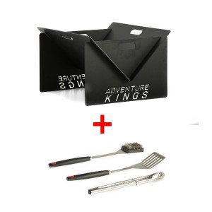 Kings Portable Steel Fire Pit + BBQ Tool Set