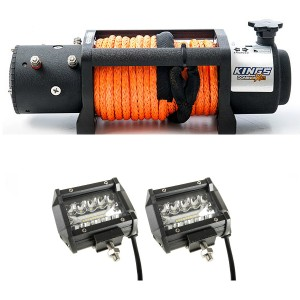"Domin8r X 12,000lb Winch with rope + Adventure Kings 4"" LED Light Bar"