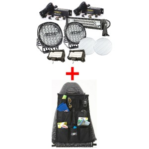 "Adventure Kings Ultimate 7"" Driving Light, 22"" & 2x 5"" Light Bar Set + Car Seat Organiser"