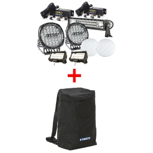 "Adventure Kings Ultimate 7"" Driving Light, 22"" & 2x 5"" Light Bar Set + Dirty Gear Bag"