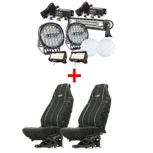 "Adventure Kings Ultimate 7"" Driving Light, 22"" & 2x 5"" Light Bar Set + Heavy Duty Seat Covers"