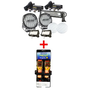 "Adventure Kings Ultimate 7"" Driving Light, 22"" & 2x 5"" Light Bar Set + Hercules Heavy Duty 3m Ratchet Strap (2 pack)"