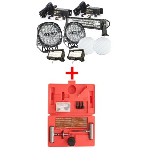 "Adventure Kings Ultimate 7"" Driving Light, 22"" & 2x 5"" Light Bar Set + Hercules Tyre Repair Kit"
