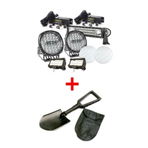 "Adventure Kings Ultimate 7"" Driving Light, 22"" & 2x 5"" Light Bar Set + Recovery Folding Shovel"