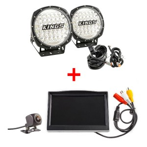 "Adventure Kings Domin8r 9"" Round LED Driving Lights & Plug and Play Smart Harness + Reverse Camera Kit with 5"" Screen"