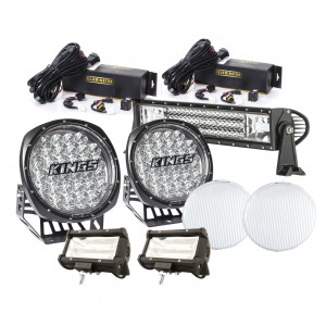 """LED Driving Lights Pack   9"""" Driving Lights (pair)   22"""" & 2x 5"""" Light Bars   Wiring Harnesses Included"""
