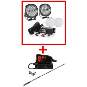 "Adventure Kings Essential 9"" Driving Light Set + Oricom UHF380PK In-Car 5W CB Radio"